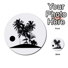 Tropical Scene Island Sunset Illustration Multi Purpose Cards (round)