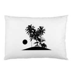 Tropical Scene Island Sunset Illustration Pillow Cases (two Sides)