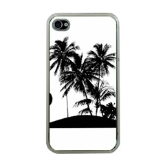 Tropical Scene Island Sunset Illustration Apple iPhone 4 Case (Clear)