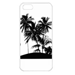 Tropical Scene Island Sunset Illustration Apple iPhone 5 Seamless Case (White)