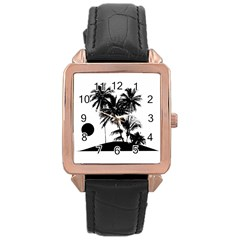 Tropical Scene Island Sunset Illustration Rose Gold Watches