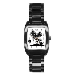 Tropical Scene Island Sunset Illustration Stainless Steel Barrel Watch