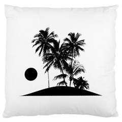 Tropical Scene Island Sunset Illustration Standard Flano Cushion Cases (One Side)