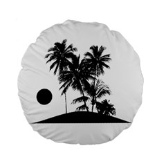 Tropical Scene Island Sunset Illustration Standard 15  Premium Flano Round Cushions