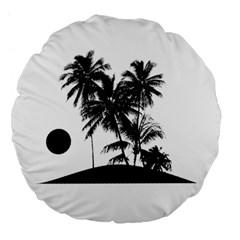 Tropical Scene Island Sunset Illustration Large 18  Premium Flano Round Cushions