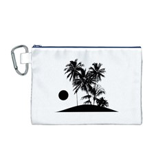 Tropical Scene Island Sunset Illustration Canvas Cosmetic Bag (M)