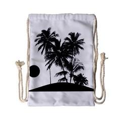 Tropical Scene Island Sunset Illustration Drawstring Bag (Small)