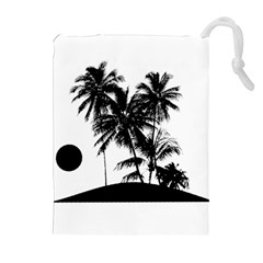 Tropical Scene Island Sunset Illustration Drawstring Pouches (Extra Large)