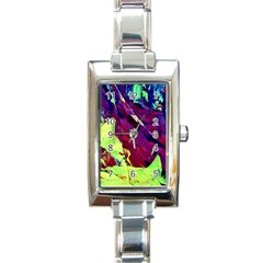 Abstract Painting Blue,yellow,red,green Rectangle Italian Charm Watches