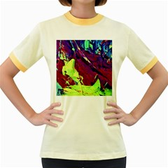 Abstract Painting Blue,yellow,red,green Women s Fitted Ringer T Shirts