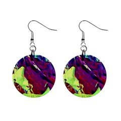 Abstract Painting Blue,Yellow,Red,Green Mini Button Earrings
