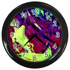 Abstract Painting Blue,yellow,red,green Wall Clocks (black)