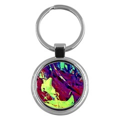 Abstract Painting Blue,Yellow,Red,Green Key Chains (Round)