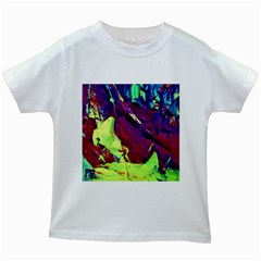 Abstract Painting Blue,yellow,red,green Kids White T Shirts