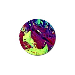 Abstract Painting Blue,yellow,red,green Golf Ball Marker