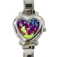 Abstract Painting Blue,yellow,red,green Heart Italian Charm Watch