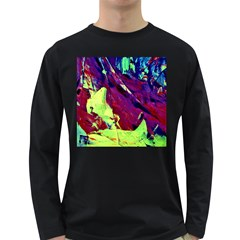 Abstract Painting Blue,yellow,red,green Long Sleeve Dark T Shirts