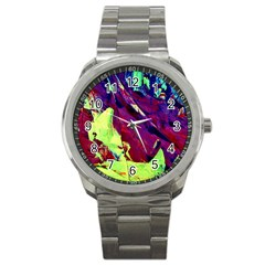 Abstract Painting Blue,yellow,red,green Sport Metal Watches