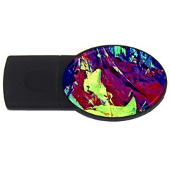 Abstract Painting Blue,yellow,red,green Usb Flash Drive Oval (4 Gb)