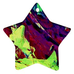 Abstract Painting Blue,yellow,red,green Star Ornament (two Sides)