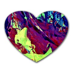Abstract Painting Blue,yellow,red,green Heart Mousepads