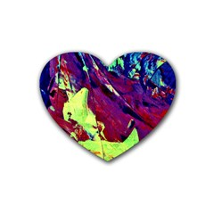 Abstract Painting Blue,Yellow,Red,Green Rubber Coaster (Heart)