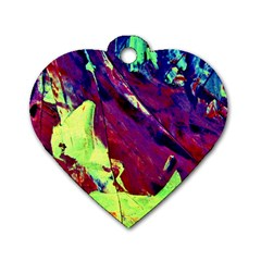 Abstract Painting Blue,yellow,red,green Dog Tag Heart (one Side)