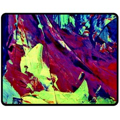 Abstract Painting Blue,yellow,red,green Fleece Blanket (medium)