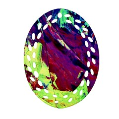 Abstract Painting Blue,Yellow,Red,Green Oval Filigree Ornament (2-Side)