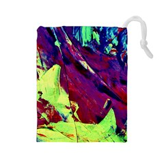 Abstract Painting Blue,yellow,red,green Drawstring Pouches (large)
