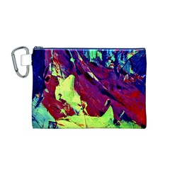 Abstract Painting Blue,Yellow,Red,Green Canvas Cosmetic Bag (M)