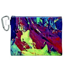 Abstract Painting Blue,Yellow,Red,Green Canvas Cosmetic Bag (XL)
