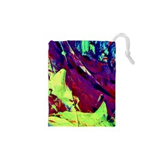 Abstract Painting Blue,yellow,red,green Drawstring Pouches (xs)