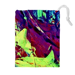 Abstract Painting Blue,Yellow,Red,Green Drawstring Pouches (Extra Large)