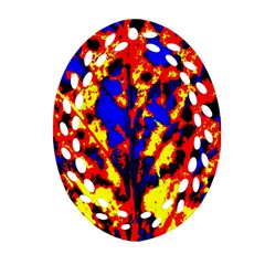 Fire Tree Pop Art Oval Filigree Ornament (2 Side)