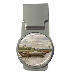 Fishing And Sailboats At Santa Lucia River In Montevideo Money Clips (Round)