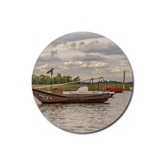 Fishing And Sailboats At Santa Lucia River In Montevideo Rubber Round Coaster (4 pack)