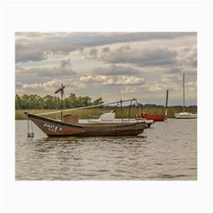 Fishing And Sailboats At Santa Lucia River In Montevideo Small Glasses Cloth (2-Side)