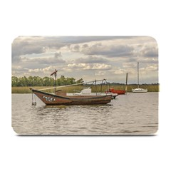 Fishing And Sailboats At Santa Lucia River In Montevideo Plate Mats