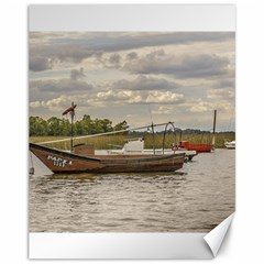 Fishing And Sailboats At Santa Lucia River In Montevideo Canvas 11  x 14