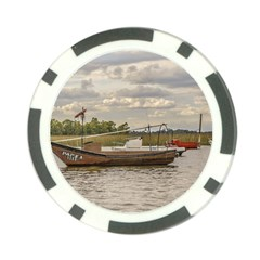 Fishing And Sailboats At Santa Lucia River In Montevideo Poker Chip Card Guards