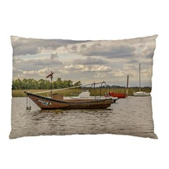 Fishing And Sailboats At Santa Lucia River In Montevideo Pillow Cases
