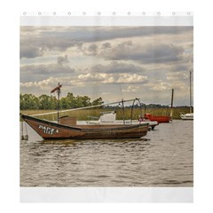 Fishing And Sailboats At Santa Lucia River In Montevideo Shower Curtain 66  X 72  (large)
