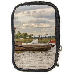 Fishing And Sailboats At Santa Lucia River In Montevideo Compact Camera Cases