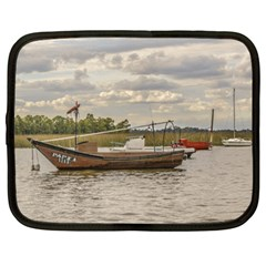 Fishing And Sailboats At Santa Lucia River In Montevideo Netbook Case (XL)