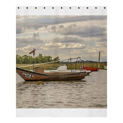 Fishing And Sailboats At Santa Lucia River In Montevideo Shower Curtain 60  X 72  (medium)