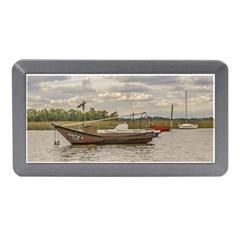 Fishing And Sailboats At Santa Lucia River In Montevideo Memory Card Reader (mini)