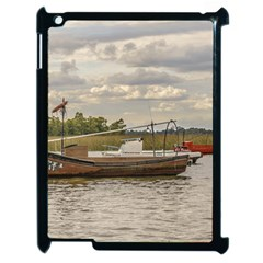 Fishing And Sailboats At Santa Lucia River In Montevideo Apple iPad 2 Case (Black)
