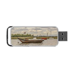 Fishing And Sailboats At Santa Lucia River In Montevideo Portable USB Flash (One Side)