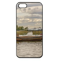 Fishing And Sailboats At Santa Lucia River In Montevideo Apple iPhone 5 Seamless Case (Black)
